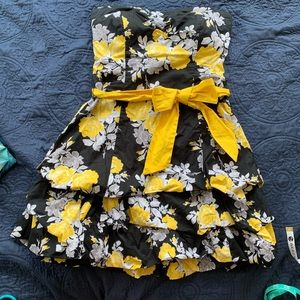 Yellow black gray floral strapless cocktail dress
